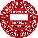 Keuringsvignetten, gekeurd van, vlg. DGUV voorschrift 3 (2016- 2026), Duitstalig
