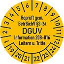 Keuringsvignetten, gekeurd vlg. BetrSichV §3 (6) DGUV Information 208- 016 ladders & opstapjes