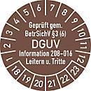 Prüfplakette, Geprüft gem. BetrSichV °3 (6) DGUV Information 208- 016 Leitern u. Tritte, blau