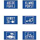 Sjablonenset voor rijbaanmarkering, 6 x ABC/ symbolen