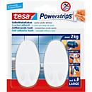 tesa Powerstrips Haken Large, oval oder eckig, hält Gegenstände bis 2 kg, 2er- Set