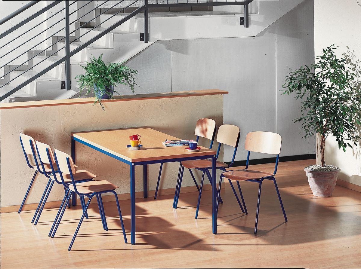 komplett set stahlrohr tisch mit 6 stapelst hlen g nstig. Black Bedroom Furniture Sets. Home Design Ideas