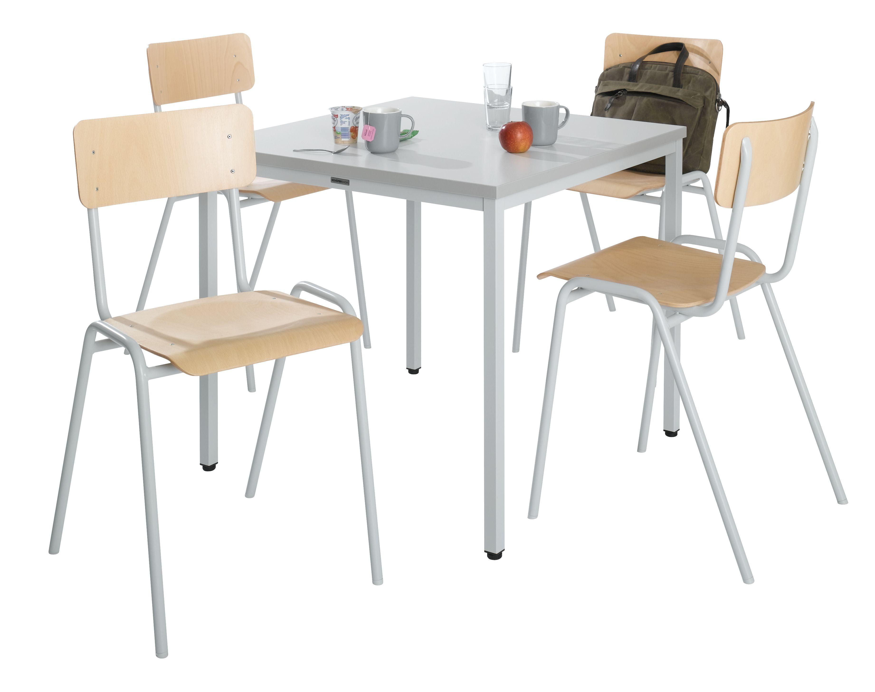 stahlrohr tisch 4 stapelst hle set g nstig kaufen. Black Bedroom Furniture Sets. Home Design Ideas