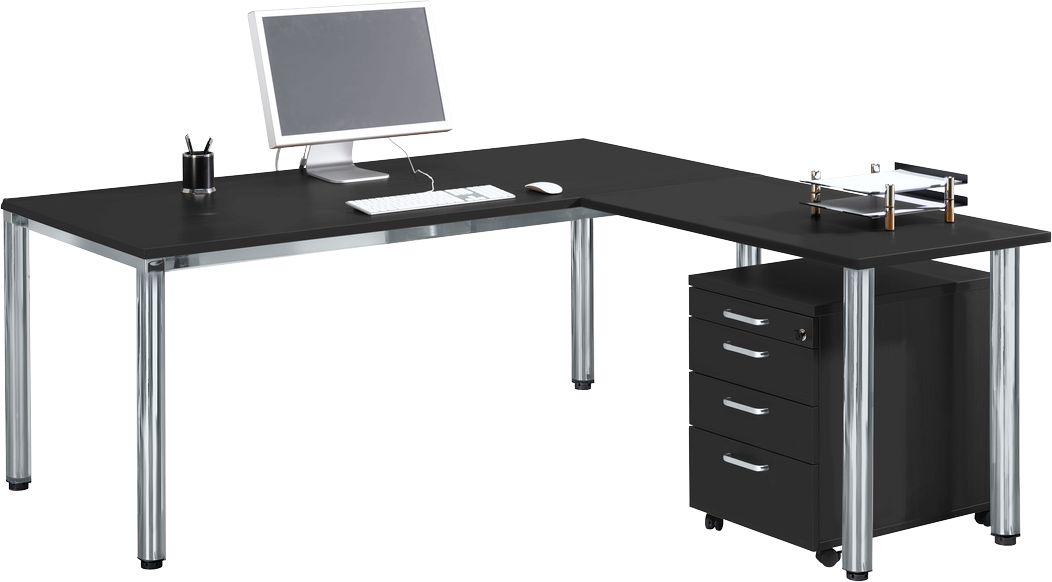 bureau 1800 mm pi tement tubulaire de section ronde table d 39 extension caisson roulettes. Black Bedroom Furniture Sets. Home Design Ideas