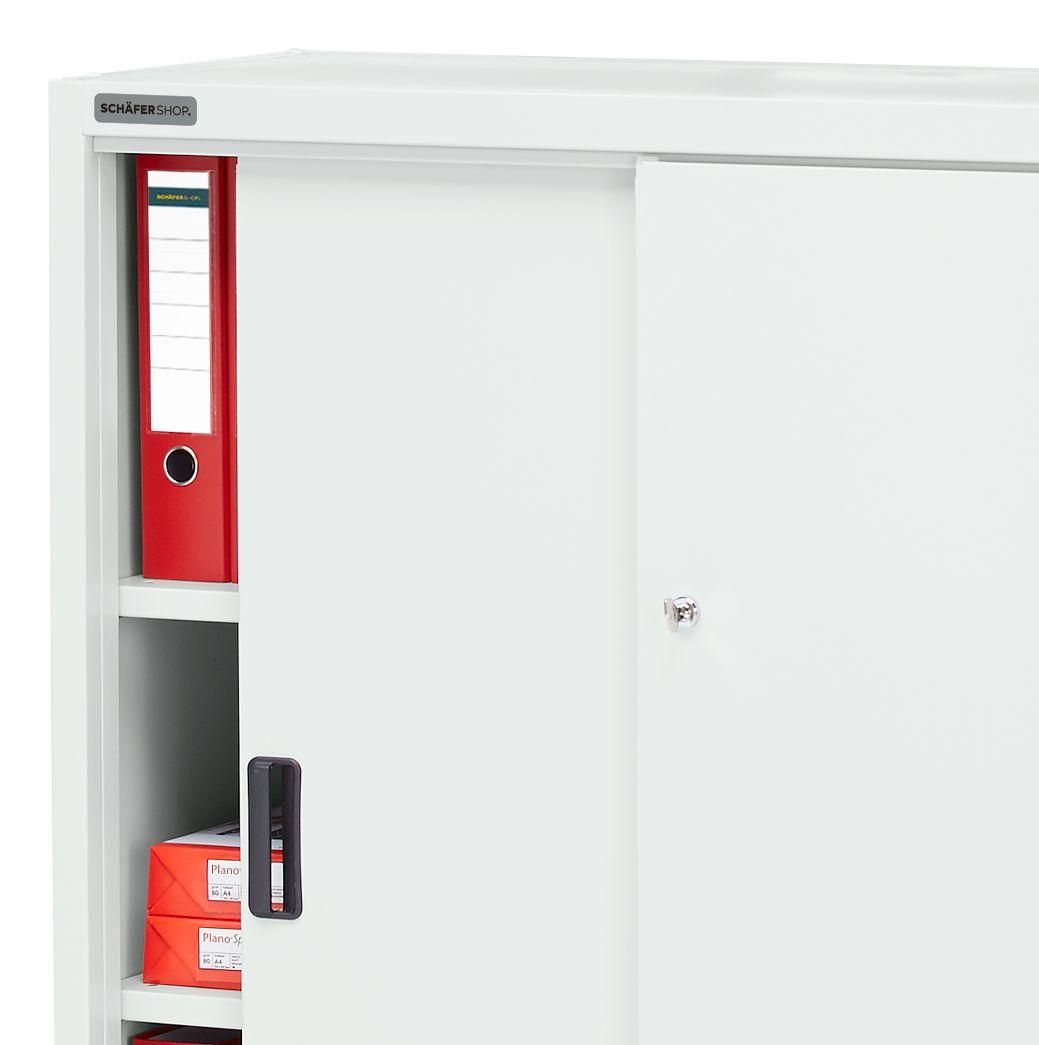 schrank schiebet ren b 950 x t 400 x h 1150 mm lichtgrau g nstig kaufen sch fer shop. Black Bedroom Furniture Sets. Home Design Ideas