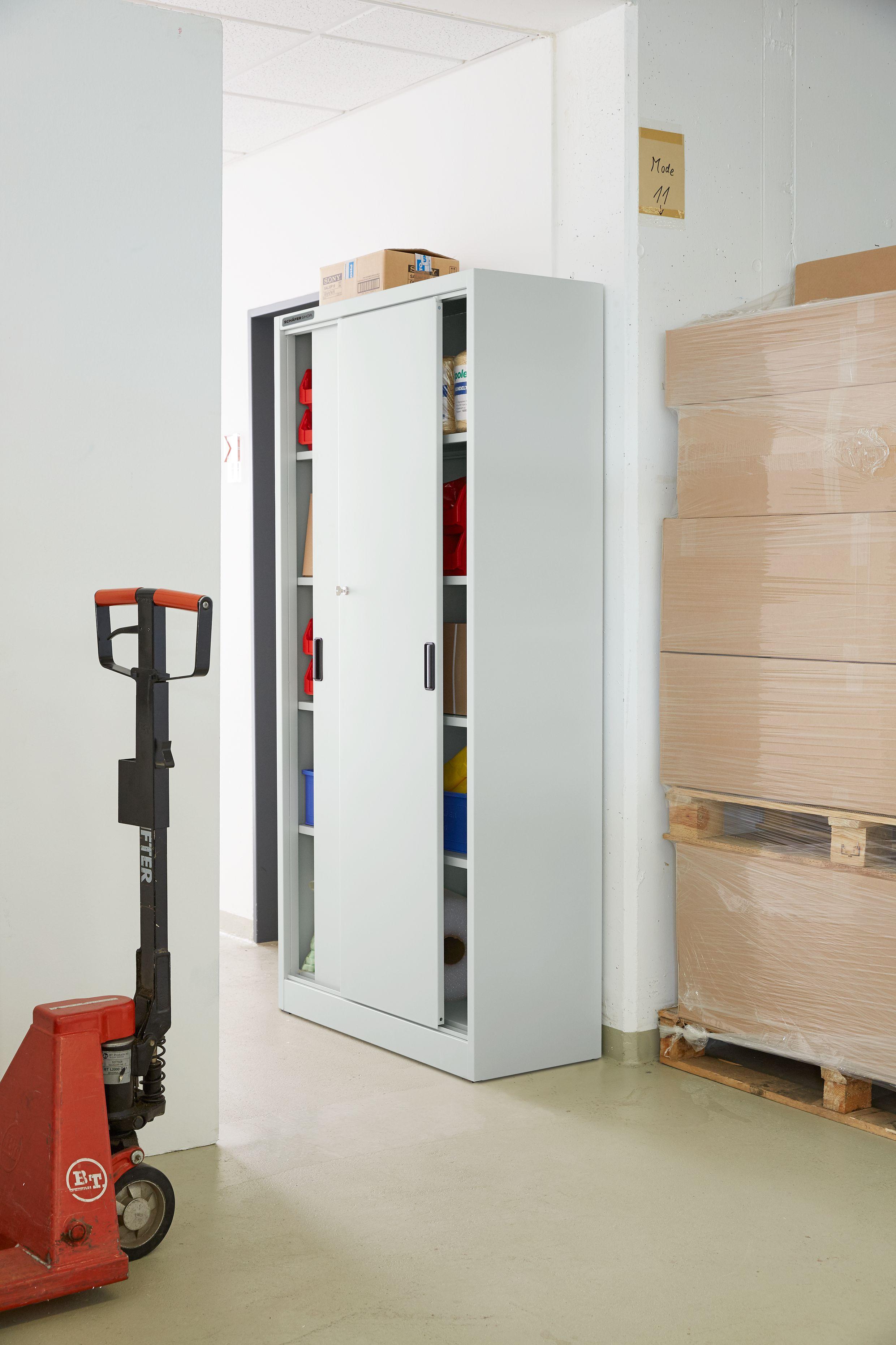schrank schiebet ren 950 x 400 x 1950 mm lichtgrau. Black Bedroom Furniture Sets. Home Design Ideas
