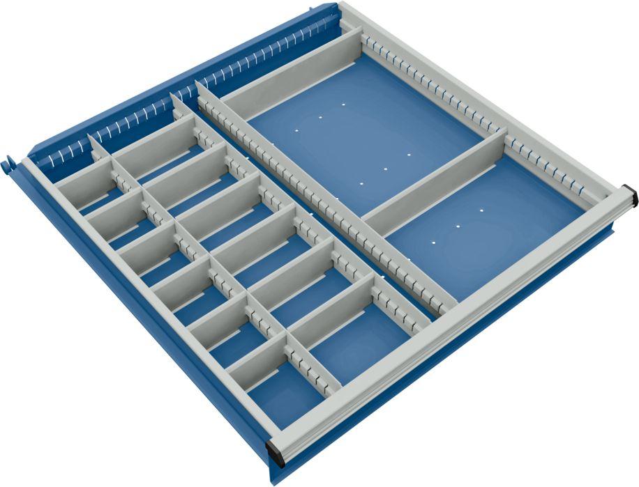 trennwand mit 3 l ngs und 14 querteiler f r schubladenschrank 715 mm breit g nstig kaufen. Black Bedroom Furniture Sets. Home Design Ideas