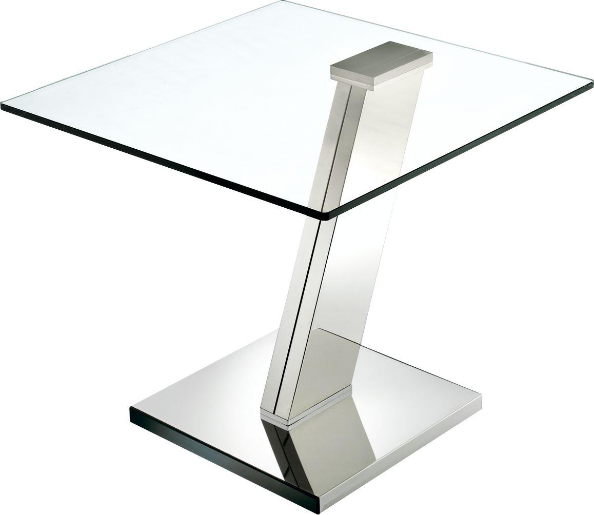 Glas-Beistelltisch, quadratische Platte, Fußgestell Stahl ...