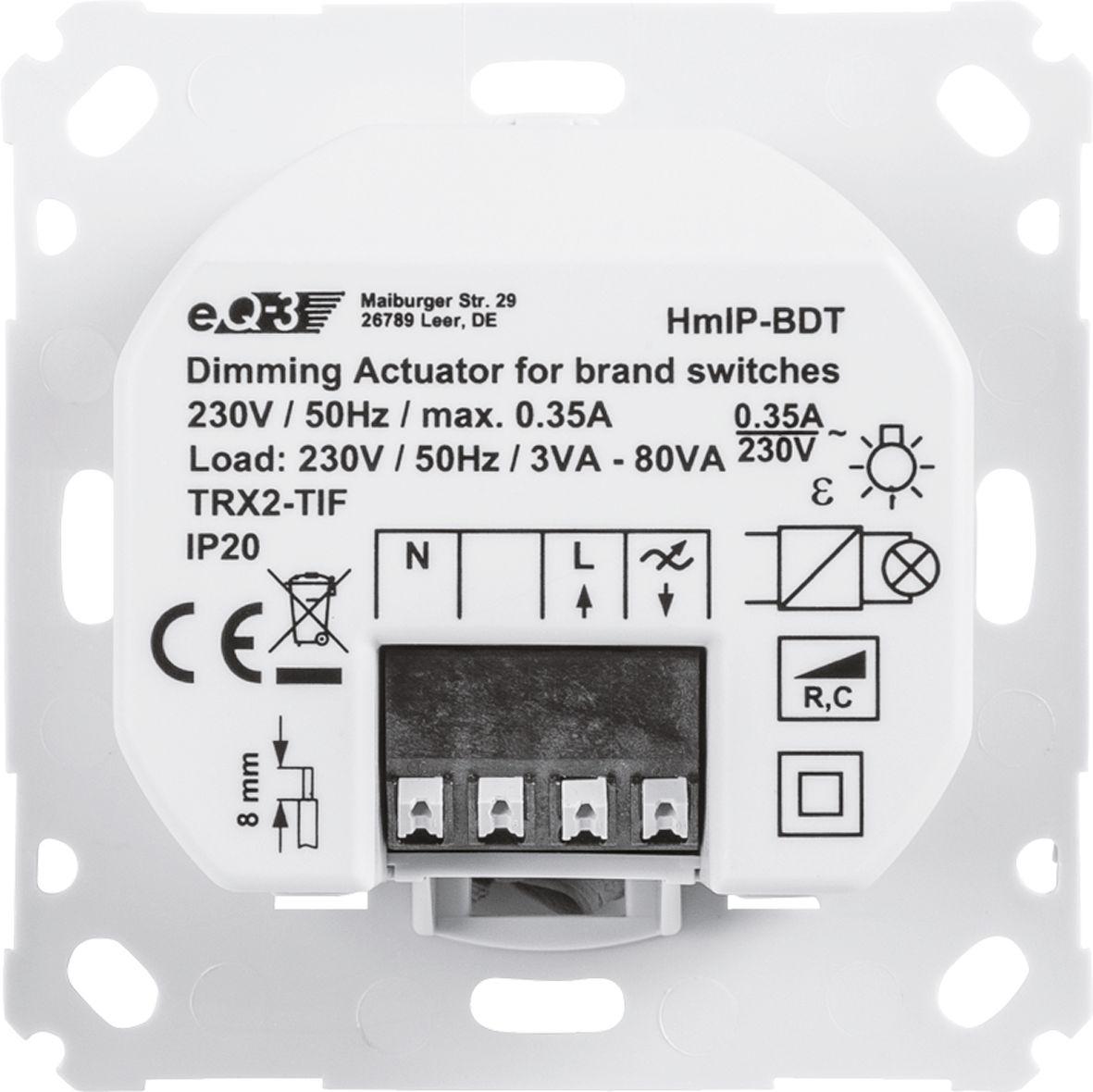 homematic ip dimmaktor unterputz f r markenschalter phasenabschnitt smart home g nstig. Black Bedroom Furniture Sets. Home Design Ideas