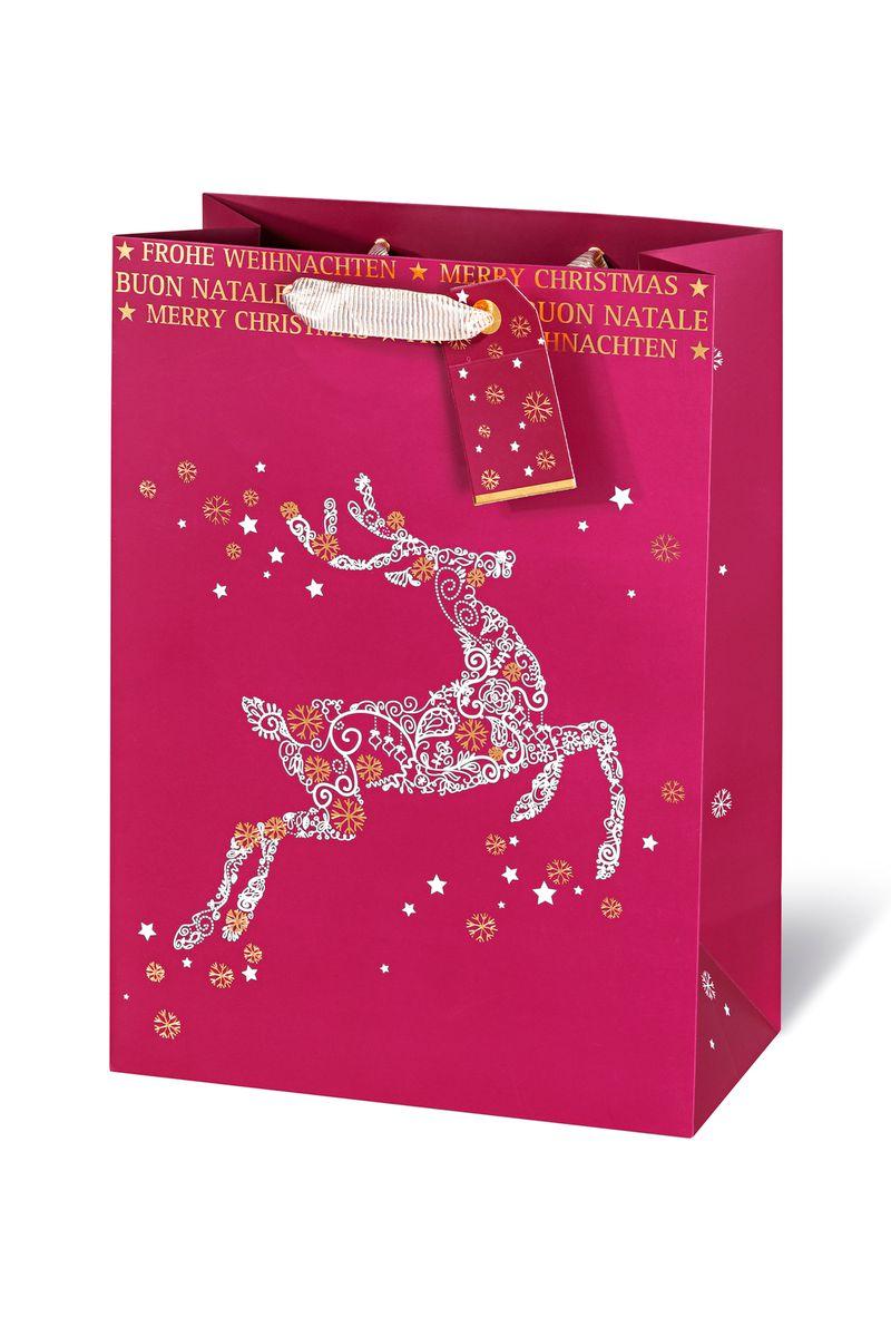 Geschenktasche, Frohe Weihnachten, aus Kraftpapier, veredelt, 6 ...