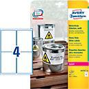 Avery Zweckform Wetterfeste Folienetiketten L4774- 20, A4, 80 Etiketten, weiß