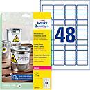 Avery Zweckform Wetterfeste Folienetiketten L4778- 20, A4, 960 Etiketten, weiß