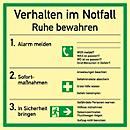 Cartel con reglas de conducta en caso de emergencia