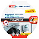 Fita adesiva de dupla face tesa Powerbond® Ultra Strong, L 5 m x W 19 mm, para uso interior e exterior