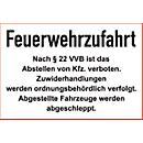 """Parkverbot- Schild """"Feuerwehrzufahrt"""" (Alu- Dibond)"""