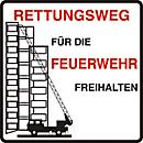 """Parkverbot- Schild """"Rettungsweg für die Feuerwehr freihalten"""" (Alu- Dibond)"""
