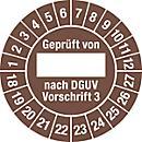 Prüfplakette, Geprüft von, nach DGUV Vorschrift 3 (2018- 2027)