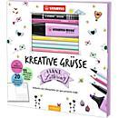 Stabilo Postkartenmalbuch Kreative Grüße, 20 Karten zum Selbstgestaltung, mit Stiften