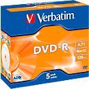 Verbatim® DVD- R, bis 16fach, 4,7 GB/ 120 min, 5er Jewelcase
