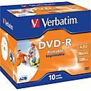 Verbatim® DVD- R printable (Tinte), bis 16fach, 4,7 GB/ 120 min, 10 Jewelcases