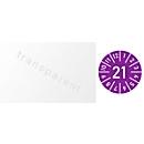"""Kabelprüfplakette mit Jahreszahl """"2021"""", mit Monaten 1-12, 100 St. à 25 x 60 mm, Folie, violett"""