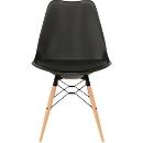 Kuipstoel DOGEWOOD, kunststof, met houten poten, zitkussen, 2 stuks zwart