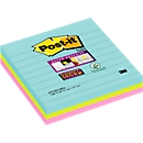 Post-it® Super Sticky Notes 675-S3M Miami, 101 x 101 mm, 3 x 70 vellen, gelinieerd, gekleurd