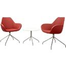 2 bezoekersstoelen KONSIT, rood + 1 bijzettafel KONSIT