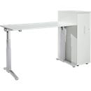 2-tlg. Büromöbelset Schreibtisch ERGOSTYLE, 2-stufig elektr. höhenverst., C-Fuß, B 1800 x T 800 x H 645-1305 mm + Hochcontainer, lichtgrau