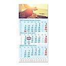 3-Monats-Kalender, mit Datumschieber, L 590 x B 300 mm, Werbedruck 280 x 130 mm, hellblau