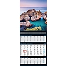 3-Monats-Kalender Reiseträume, 12 Bilder, B 300 x H 790 mm, Werbedruck 270 x 35 mm