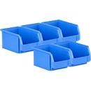 5-delige voordeelset magazijnbakken SSI Schäfer LF221, PP, L 234 x B 150 x H 122 mm, 2,7 l, handgreep & gleuven, blauw