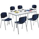 6 stapelstoelen + vergadertafel SET