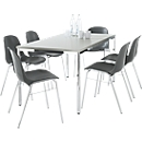 6 stoelen BETA, antraciet + tafel SET