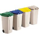 Afvalsorteersysteem, wielen, beige, Deksel blauw