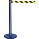 Afzetpaal met trekband blauw, band zwart/geel