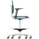 Arbeitsdrehstuhl Labsit hoch, Kunstleder, Sitz-Stopp-Rollen, B 450 x T 420 x H 560 - 810 mm, blau
