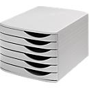 ATLANTA Schubladenbox, 6 flache Schubladen geschlossen, DIN A4, Polystyrol, lichtgrau