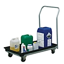 Auffangwanne CEMO mobil, Polyethylen, 30 l Auffangvolumen, verzinktes Fahrgestell, Rollen Ø100 mm, L 1120 x B 630 x H 1040 mm