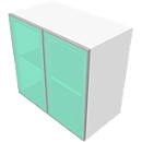 Aufsatzschrank SOLUS, Glastüren, 3 OH, H 1080 x B 800 x T 440 mm, weiß