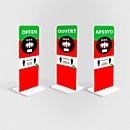Aufsteller Abstand halten, rechteckig, Digitaldruck 1-seitig, Leichtschaumplatte, grün-rot-weiss-schwarz, in deutscher Sprache