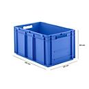 Bak in EURO-maat EF 6320, L 600 x B 400 x H 320 mm, inhoud 63,7 l, stapelbaar, polypropyleen, blauw