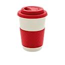 Bambus Kaffeebecher ECO, 270 ml, Deckel & Griff, spülmaschinengeeignet, Werbedruck 20 x 15 mm, rot