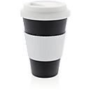 Bambus Kaffeebecher ECO maxi, 430 ml, Deckel & Griff, spülm.geeignet, Werbedruck 20 x 15 mm, schwarz