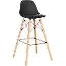 Barkruk STEELWOOD, kunststof, met houten poten, zitkussen, zithoogte 740 mm, 2 stuks, zwart