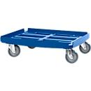 Basic Transportroller Serie WTR2, für 600 x 400 mm Boxen, Polypropylen, stapelbar, blau