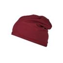 Beanie Mütze, Einheitsgröße, 100 % Bio-Baumwolle, Werbefläche 80 x 20 mm, weinrot