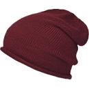 Beanie Mütze, Einheitsgröße, extra lang & mit Rollkante, Polyacryl, Stickerei auf Anfrage, dunkelrot