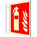 Bord met brandblusser-symbool