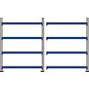 Breedvakstelling WR 600, complete stelling 3,6 m, 4 niveaus, 1 basis- en 1 aanbouwsectie incl. 8 spaanplaten